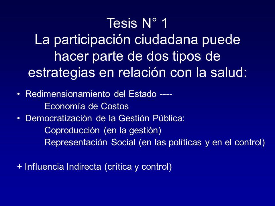 Tesis N° 1 La participación ciudadana puede hacer parte de dos tipos de estrategias en relación con la salud: