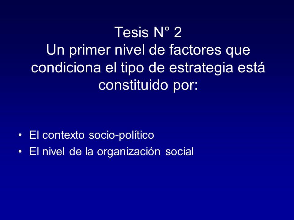 Tesis N° 2 Un primer nivel de factores que condiciona el tipo de estrategia está constituido por:
