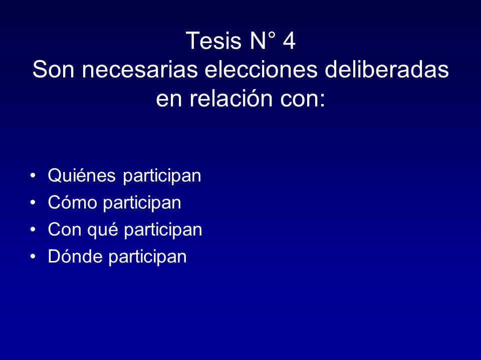 Tesis N° 4 Son necesarias elecciones deliberadas en relación con: