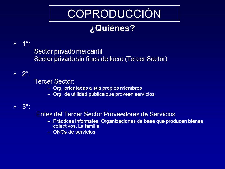 COPRODUCCIÓN ¿Quiénes 1°: Sector privado mercantil