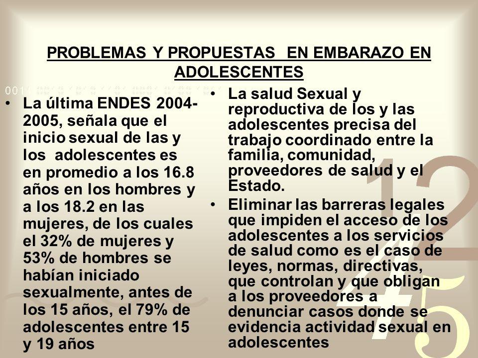 PROBLEMAS Y PROPUESTAS EN EMBARAZO EN ADOLESCENTES