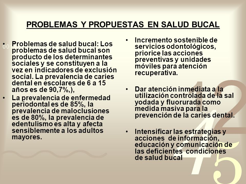 PROBLEMAS Y PROPUESTAS EN SALUD BUCAL