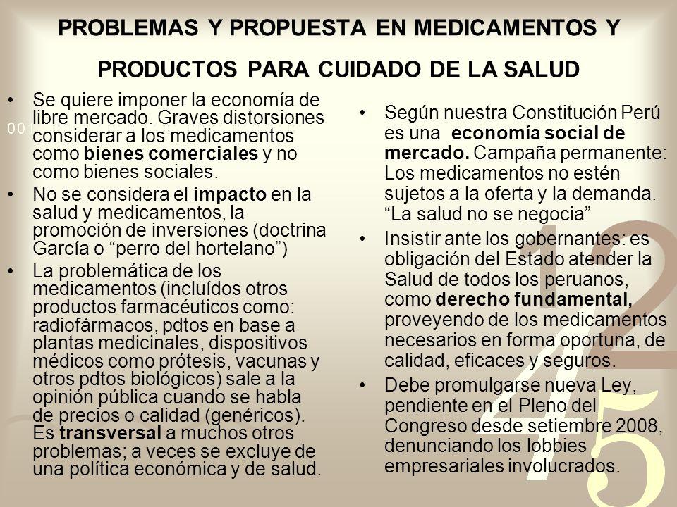 PROBLEMAS Y PROPUESTA EN MEDICAMENTOS Y PRODUCTOS PARA CUIDADO DE LA SALUD