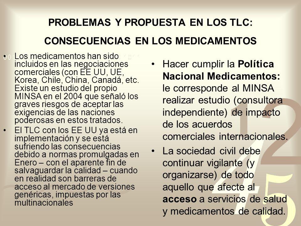 PROBLEMAS Y PROPUESTA EN LOS TLC: CONSECUENCIAS EN LOS MEDICAMENTOS