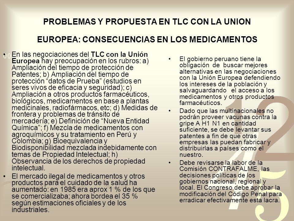 PROBLEMAS Y PROPUESTA EN TLC CON LA UNION EUROPEA: CONSECUENCIAS EN LOS MEDICAMENTOS