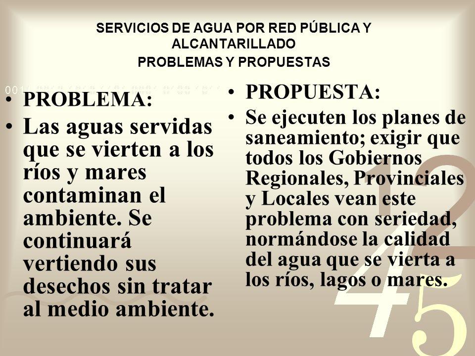 SERVICIOS DE AGUA POR RED PÚBLICA Y ALCANTARILLADO PROBLEMAS Y PROPUESTAS