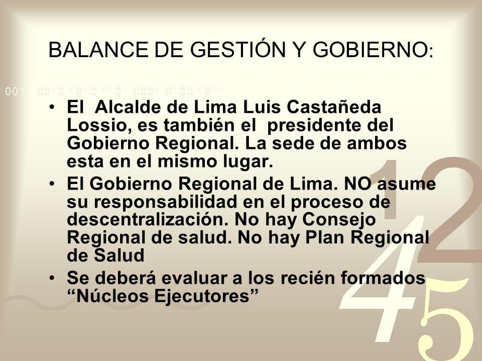 BALANCE DE GESTIÓN Y GOBIERNO: