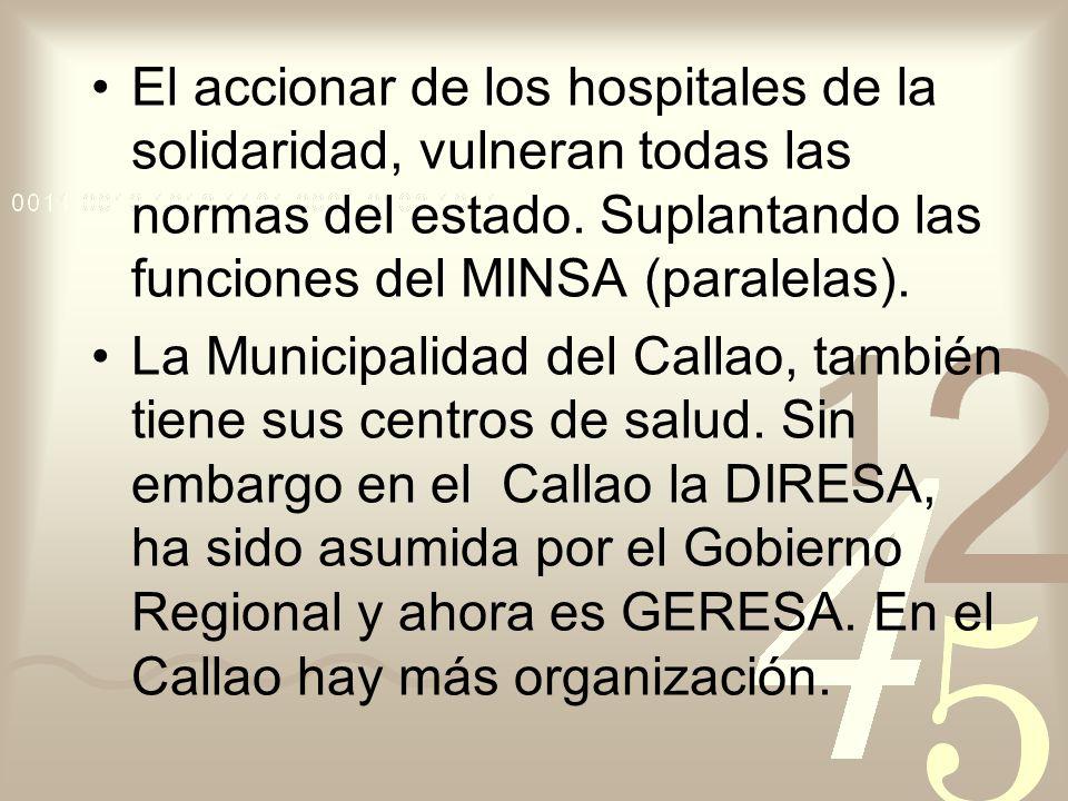 El accionar de los hospitales de la solidaridad, vulneran todas las normas del estado. Suplantando las funciones del MINSA (paralelas).