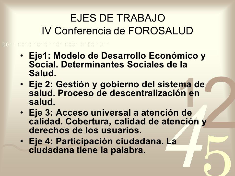 EJES DE TRABAJO IV Conferencia de FOROSALUD