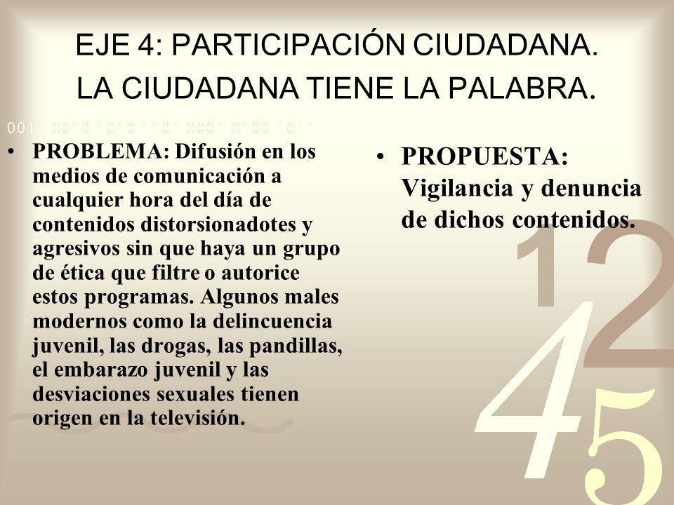 EJE 4: PARTICIPACIÓN CIUDADANA. LA CIUDADANA TIENE LA PALABRA.
