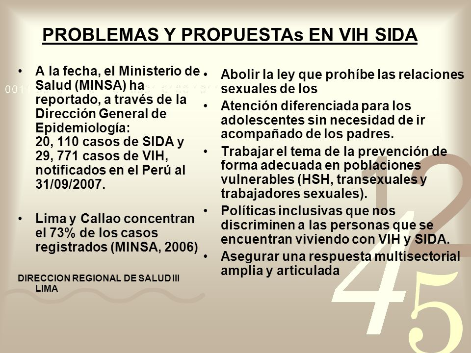 Lima y Callao concentran el 73% de los casos registrados (MINSA, 2006)