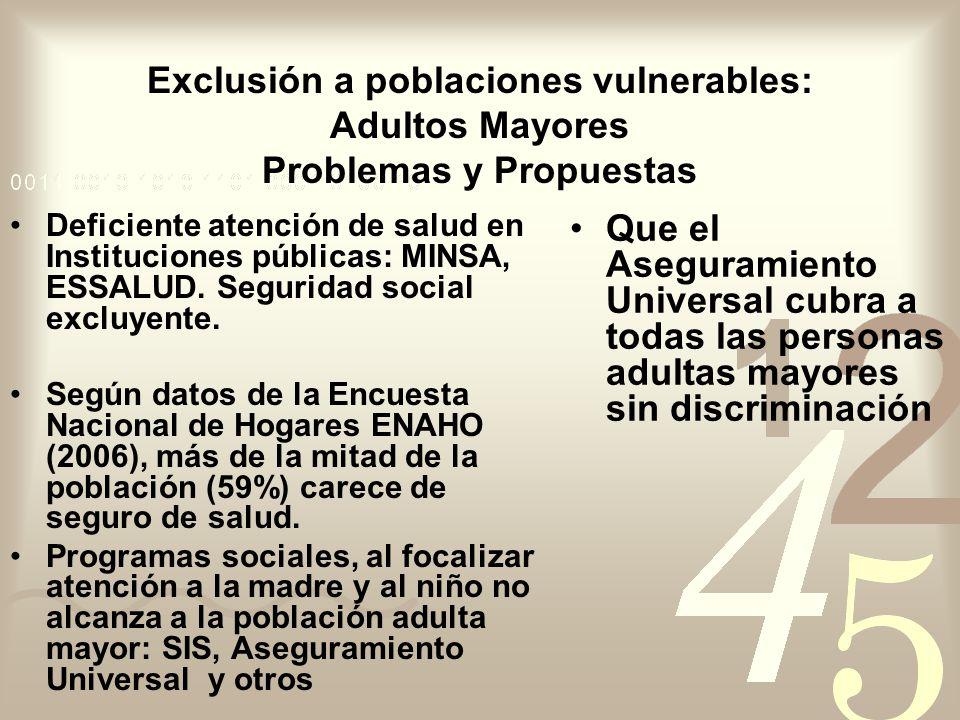 Exclusión a poblaciones vulnerables: Adultos Mayores Problemas y Propuestas