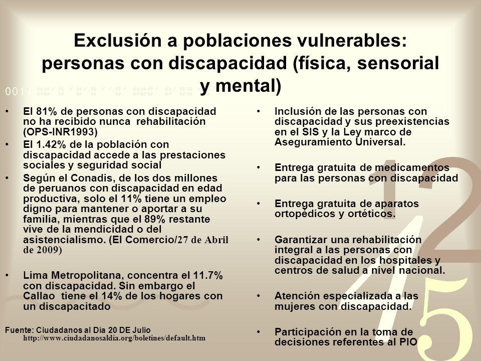 Exclusión a poblaciones vulnerables: personas con discapacidad (física, sensorial y mental)