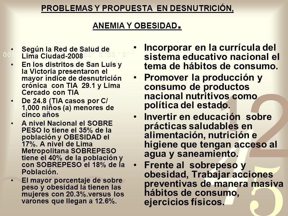 PROBLEMAS Y PROPUESTA EN DESNUTRICIÓN, ANEMIA Y OBESIDAD.