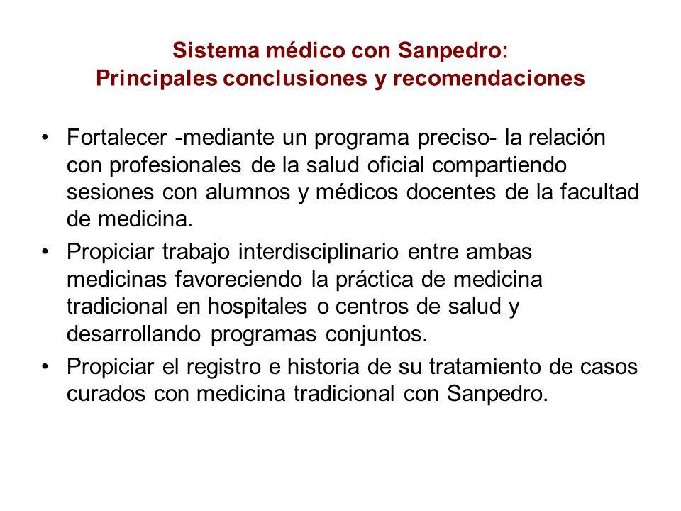 Sistema médico con Sanpedro: Principales conclusiones y recomendaciones
