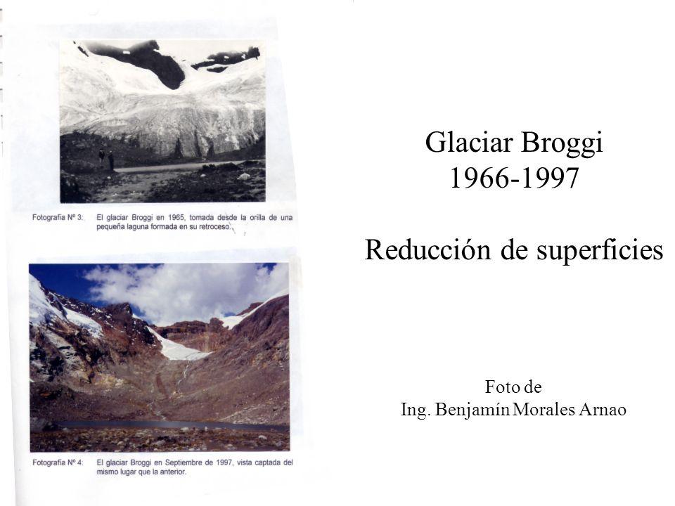 Glaciar Broggi 1966-1997 Reducción de superficies Foto de Ing