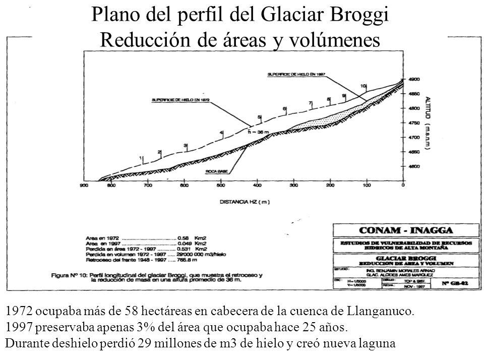 Plano del perfil del Glaciar Broggi Reducción de áreas y volúmenes