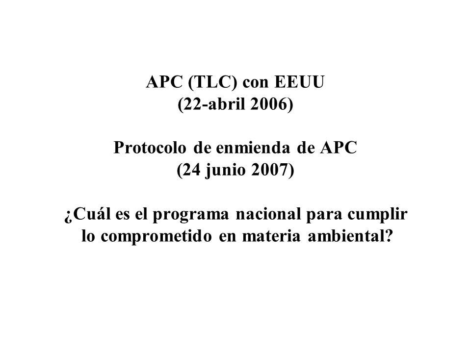 APC (TLC) con EEUU (22-abril 2006) Protocolo de enmienda de APC (24 junio 2007) ¿Cuál es el programa nacional para cumplir lo comprometido en materia ambiental