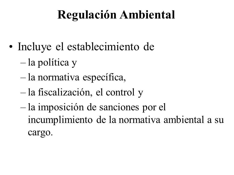 Regulación Ambiental Incluye el establecimiento de la política y