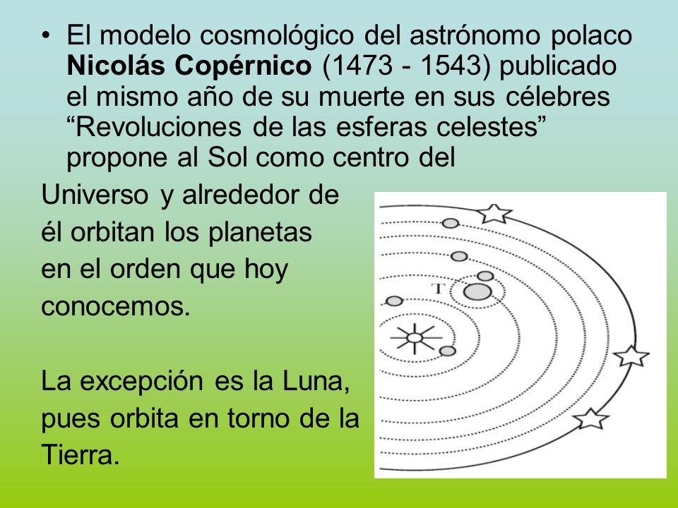 El modelo cosmológico del astrónomo polaco Nicolás Copérnico (1473 - 1543) publicado el mismo año de su muerte en sus célebres Revoluciones de las esferas celestes propone al Sol como centro del