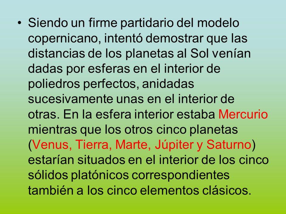Siendo un firme partidario del modelo copernicano, intentó demostrar que las distancias de los planetas al Sol venían dadas por esferas en el interior de poliedros perfectos, anidadas sucesivamente unas en el interior de otras.