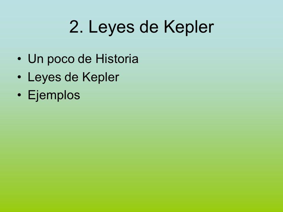 2. Leyes de Kepler Un poco de Historia Leyes de Kepler Ejemplos