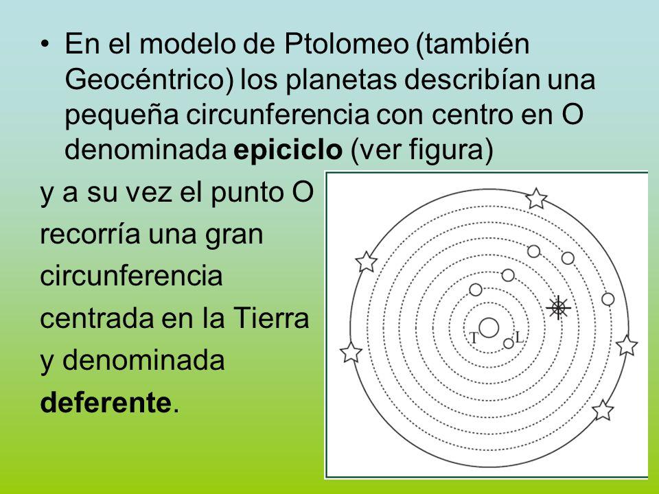 En el modelo de Ptolomeo (también Geocéntrico) los planetas describían una pequeña circunferencia con centro en O denominada epiciclo (ver figura)