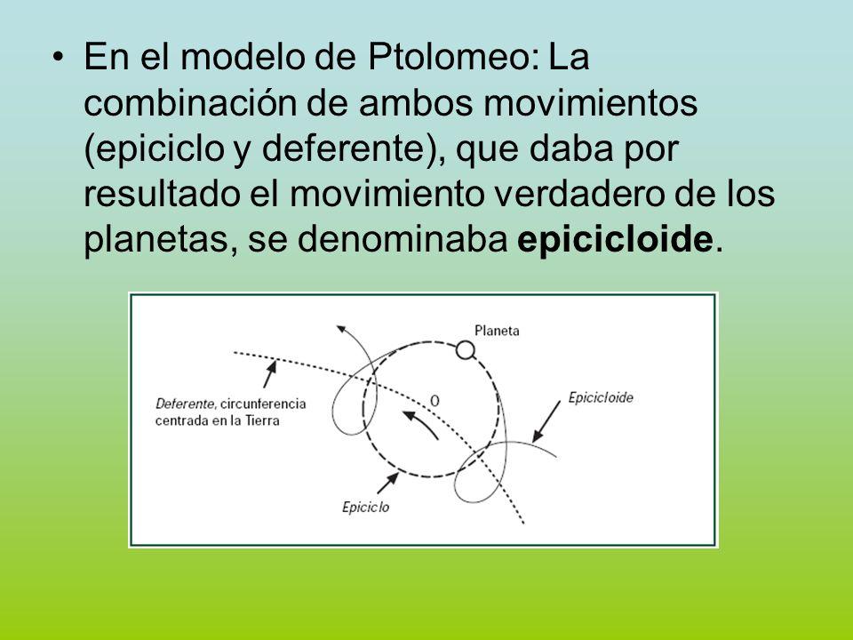 En el modelo de Ptolomeo: La combinación de ambos movimientos (epiciclo y deferente), que daba por resultado el movimiento verdadero de los planetas, se denominaba epicicloide.