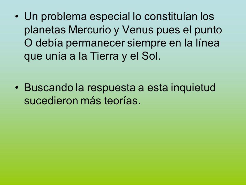 Un problema especial lo constituían los planetas Mercurio y Venus pues el punto O debía permanecer siempre en la línea que unía a la Tierra y el Sol.