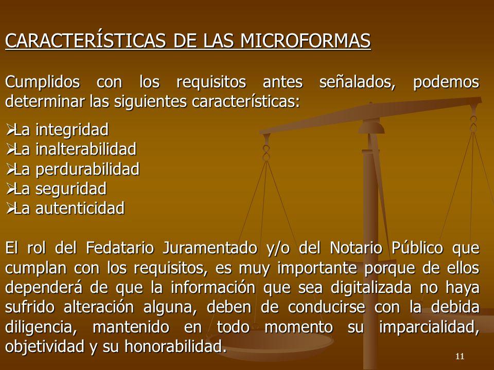 CARACTERÍSTICAS DE LAS MICROFORMAS