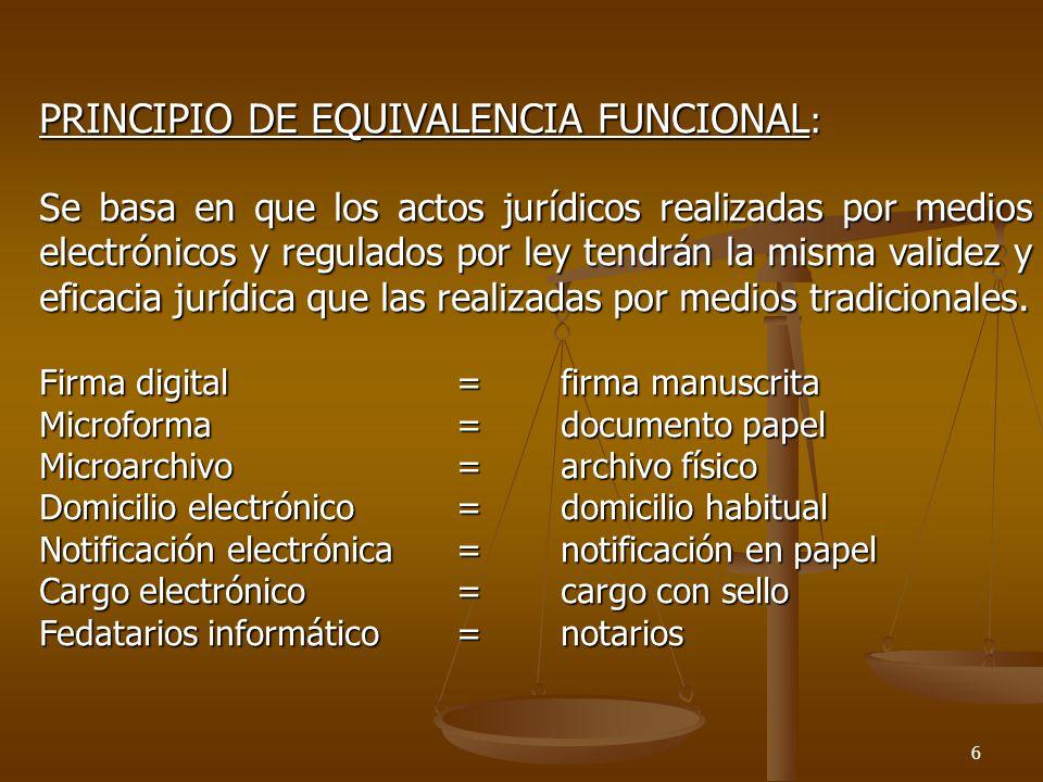 PRINCIPIO DE EQUIVALENCIA FUNCIONAL: