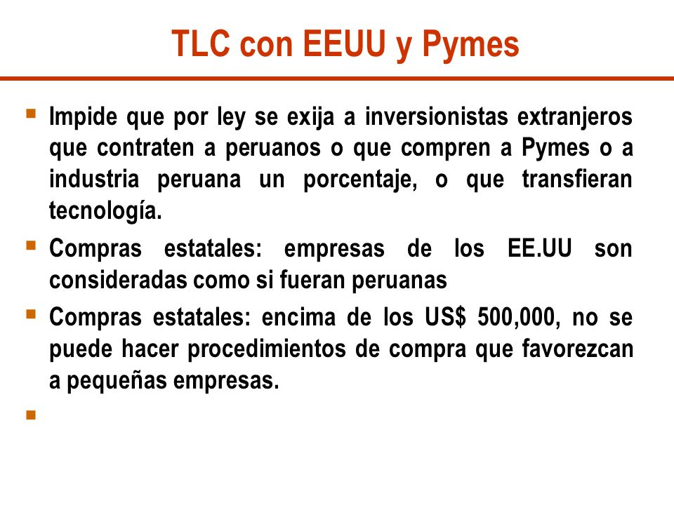 TLC con EEUU y Pymes