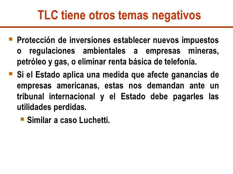 TLC tiene otros temas negativos