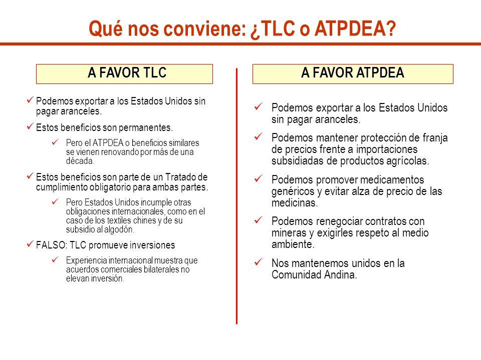 Qué nos conviene: ¿TLC o ATPDEA
