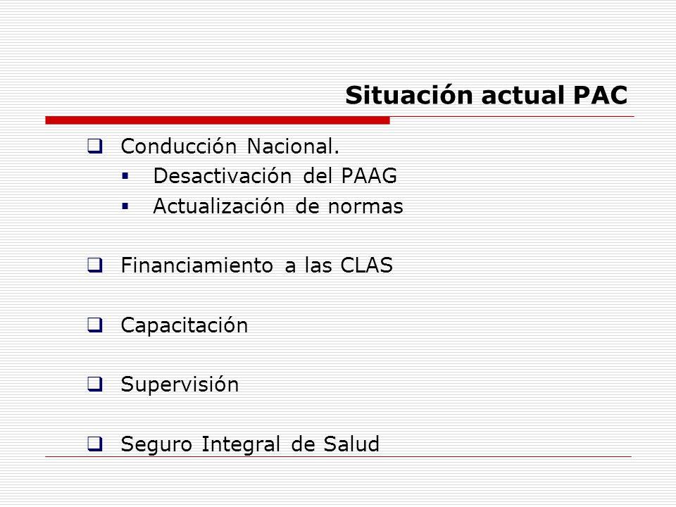 Situación actual PAC Conducción Nacional. Desactivación del PAAG