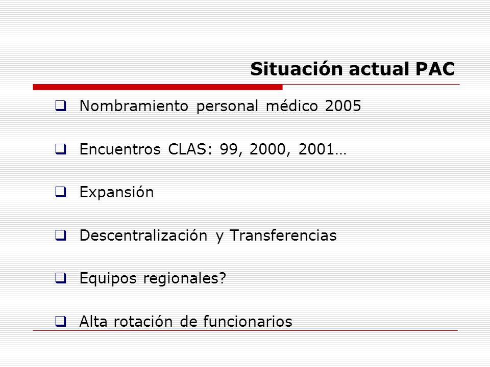 Situación actual PAC Nombramiento personal médico 2005
