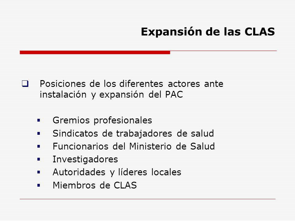 Expansión de las CLAS Posiciones de los diferentes actores ante instalación y expansión del PAC. Gremios profesionales.