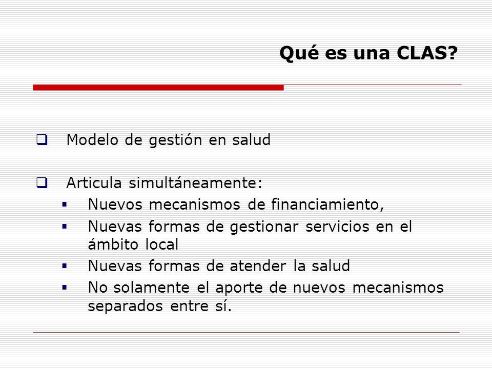 Qué es una CLAS Modelo de gestión en salud Articula simultáneamente: