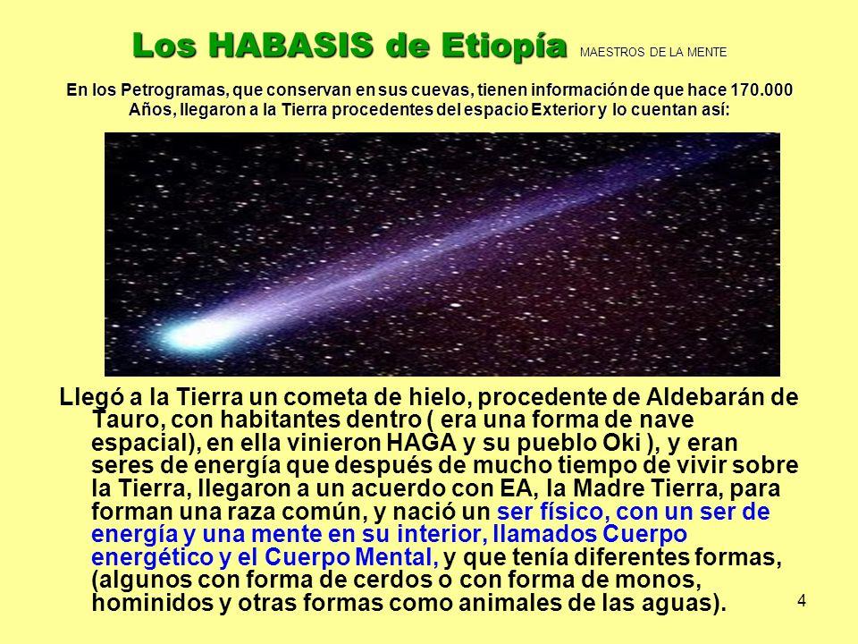 Los HABASIS de Etiopía MAESTROS DE LA MENTE En los Petrogramas, que conservan en sus cuevas, tienen información de que hace 170.000 Años, llegaron a la Tierra procedentes del espacio Exterior y lo cuentan así: