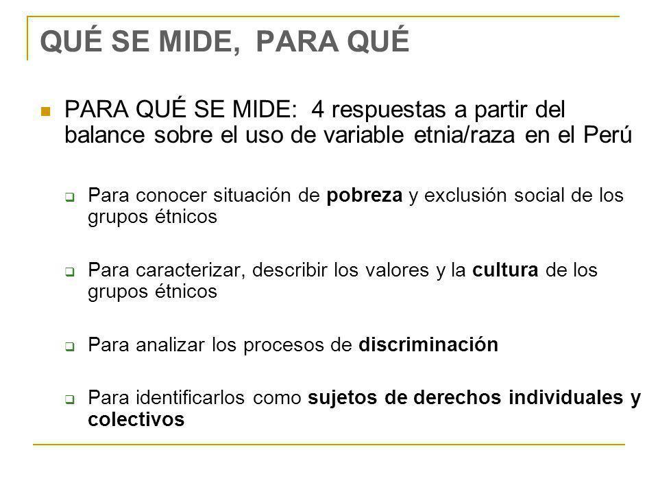 QUÉ SE MIDE, PARA QUÉ PARA QUÉ SE MIDE: 4 respuestas a partir del balance sobre el uso de variable etnia/raza en el Perú.