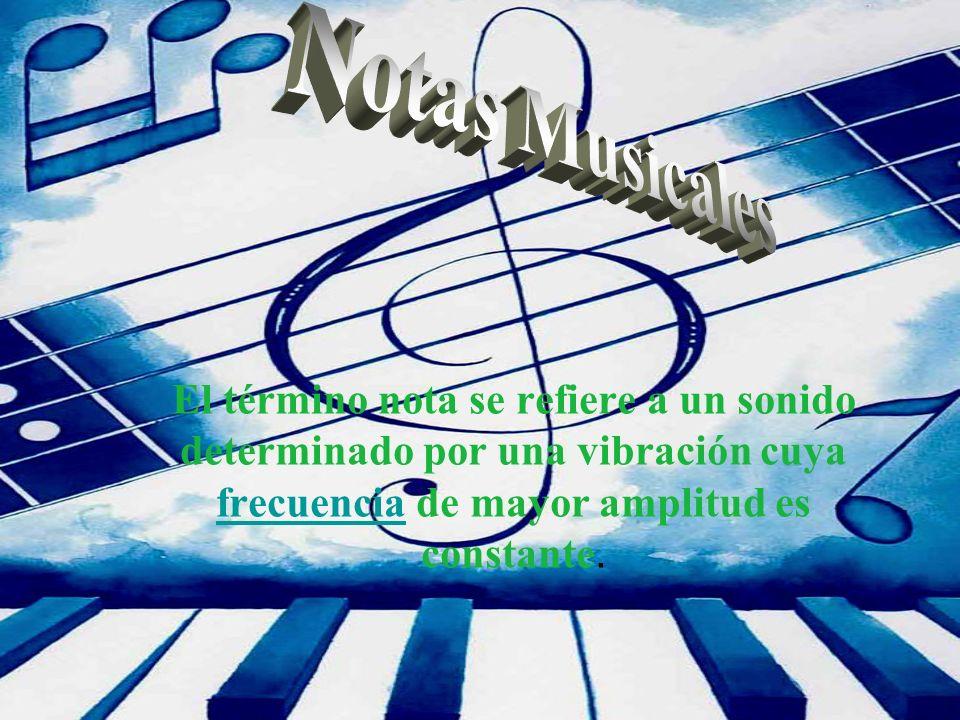 Notas Musicales El término nota se refiere a un sonido determinado por una vibración cuya frecuencia de mayor amplitud es constante.