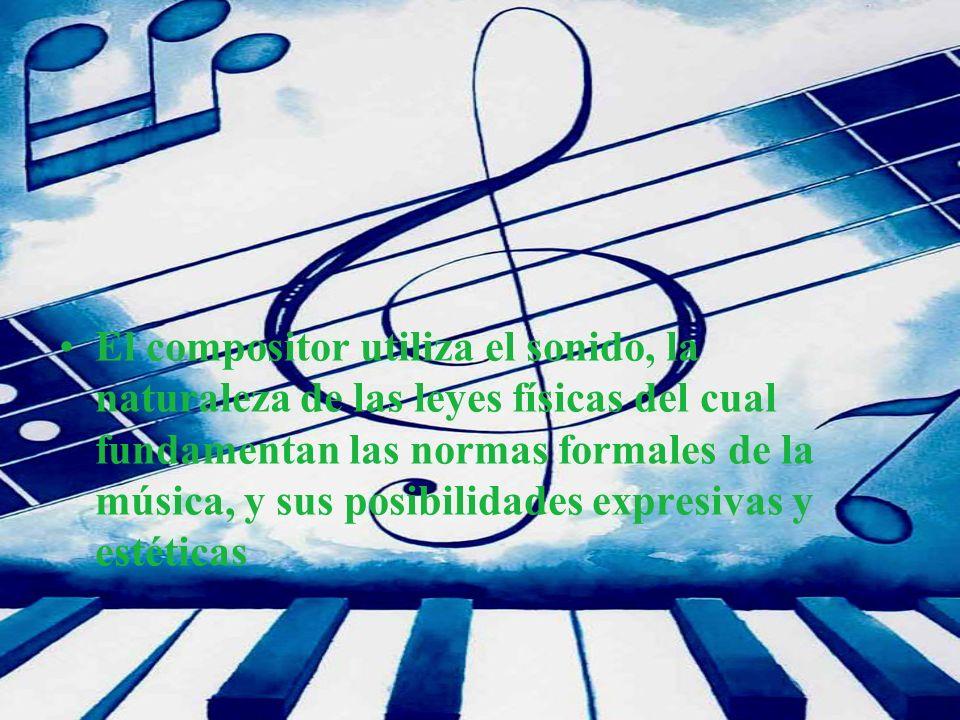 El compositor utiliza el sonido, la naturaleza de las leyes físicas del cual fundamentan las normas formales de la música, y sus posibilidades expresivas y estéticas