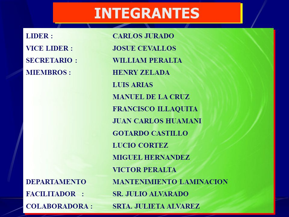 INTEGRANTES LIDER : CARLOS JURADO VICE LIDER : JOSUE CEVALLOS