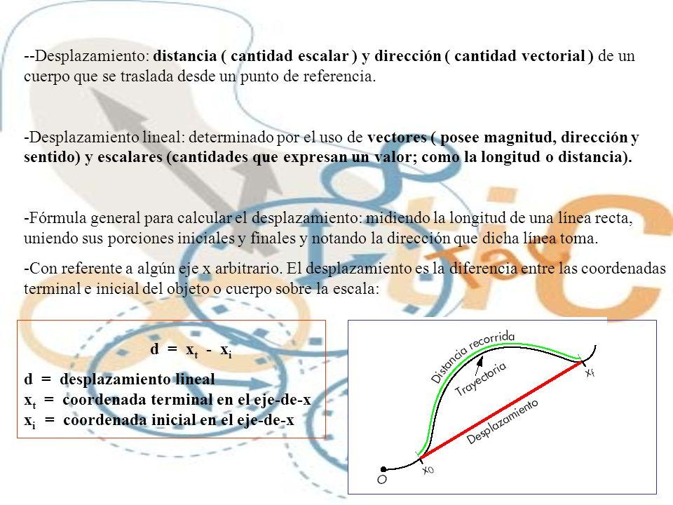 -Desplazamiento: distancia ( cantidad escalar ) y dirección ( cantidad vectorial ) de un cuerpo que se traslada desde un punto de referencia.
