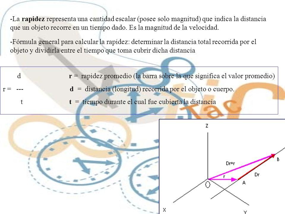 -La rapidez representa una cantidad escalar (posee solo magnitud) que indica la distancia que un objeto recorre en un tiempo dado. Es la magnitud de la velocidad.