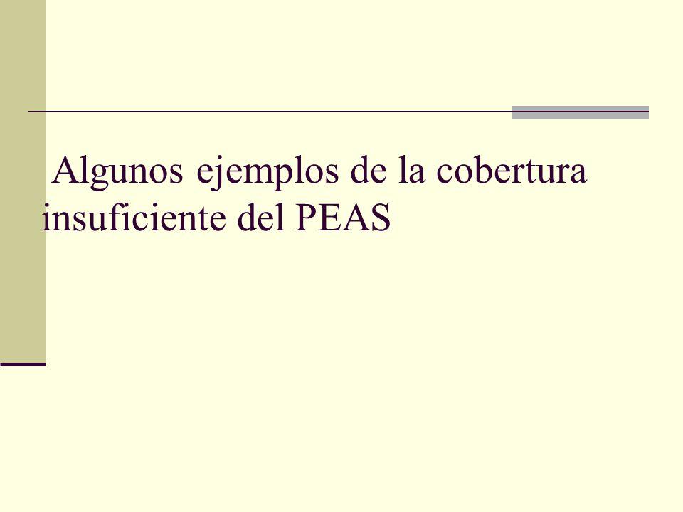 Algunos ejemplos de la cobertura insuficiente del PEAS