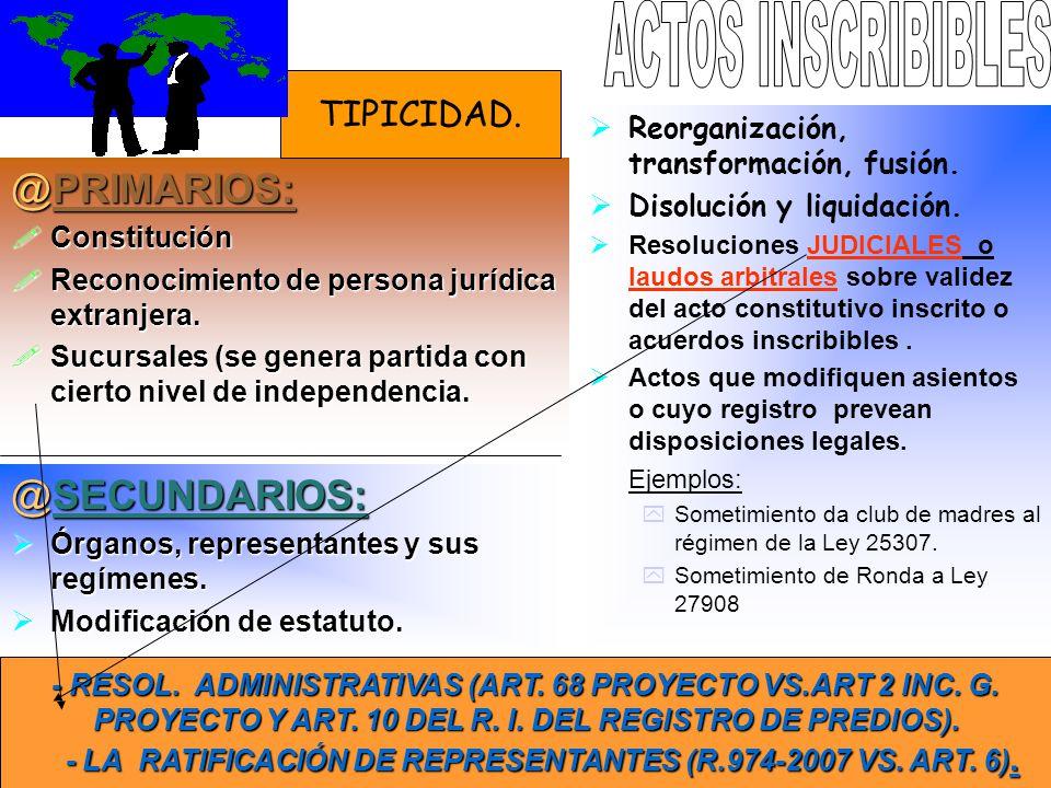ACTOS INSCRIBIBLES PRIMARIOS: SECUNDARIOS: TIPICIDAD.
