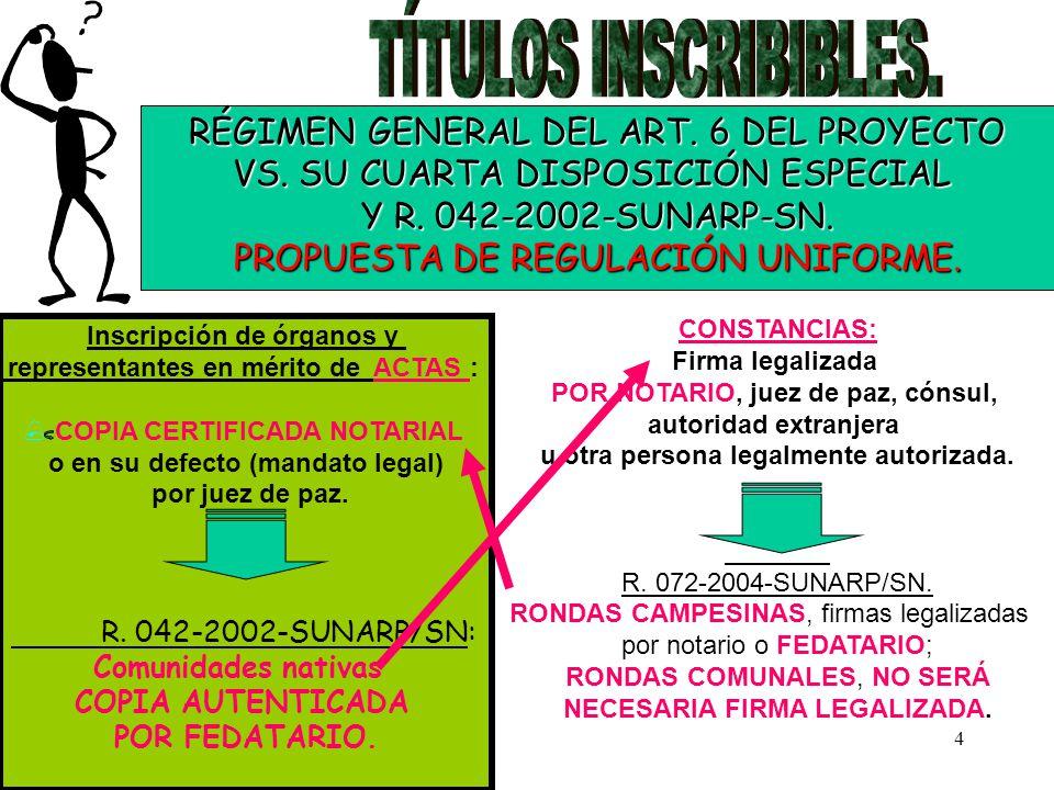 TÍTULOS INSCRIBIBLES. RÉGIMEN GENERAL DEL ART. 6 DEL PROYECTO