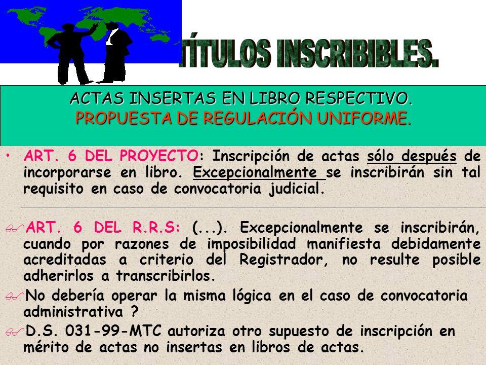 TÍTULOS INSCRIBIBLES. ACTAS INSERTAS EN LIBRO RESPECTIVO.