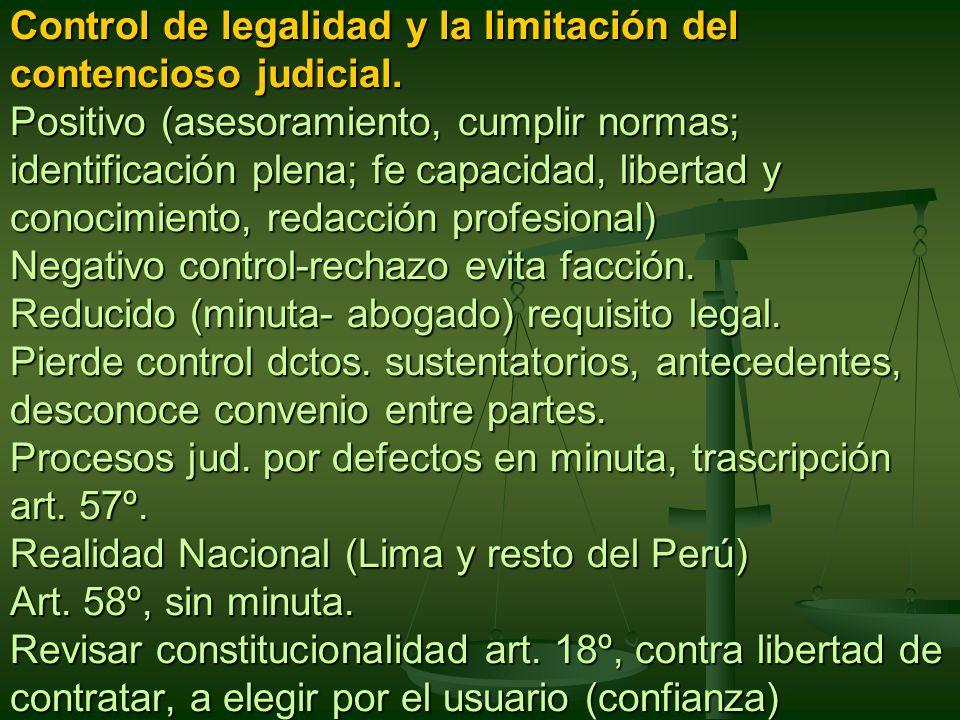 Control de legalidad y la limitación del contencioso judicial